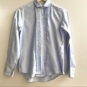 Diane Von Furstenberg   Vtg Chambray Tuxedo Shirt